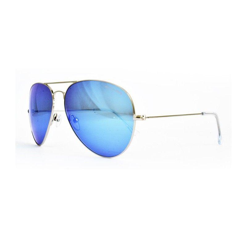 bca1a08055484 Óculos de sol Runner, tradicional forma aviador, em metal dourado com  lentes orgânicas espelhadas azuis. Filtro 3.