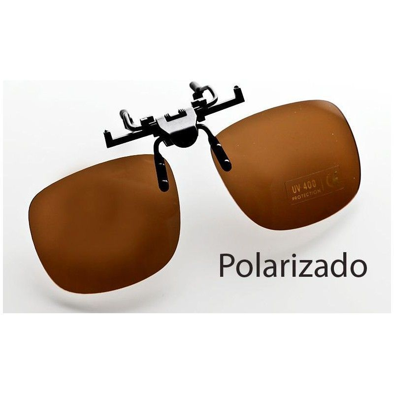 7b9d0313e5 Suplemento de sol polarizado tipo pinza abatible, para superponeer a las  gafas de graduado. El tamaño es grande para poder recortar y adaptar a la  forma que ...