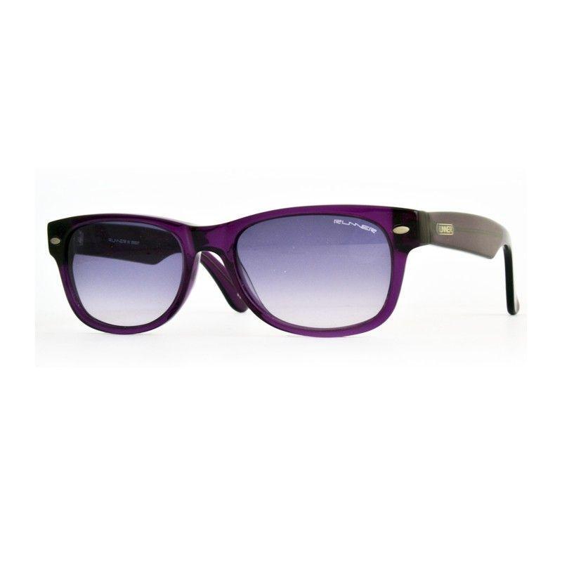 039073ada48f0 Óculos de sol Runner unisexo, acetato de cor roxa transparente, lentes  orgânicas em degradé do mesmo tom. Graduável. Filtro 3.