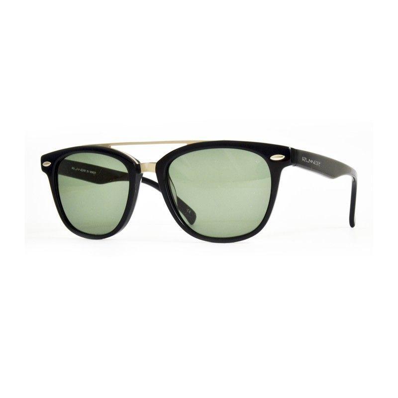 d06e47677c9c6 Óculos de sol Runner, cambina o acetato preto com metal prateado e lentes  orgânicas verde Ray-Ban. Filtro 3.