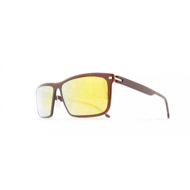 b3002e4302bb1 Óculos de sol de alta gama, de massa bordeaux com armaçao metálica de aço  quirúrgico e lentes orgânicas de cor espelhado amarelo. Extremamente leves.
